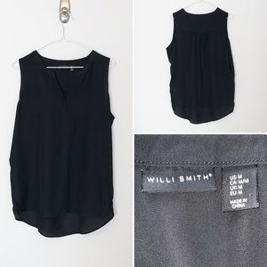 Willi Smith Sheer Sleeveless Black Blouse - Medium